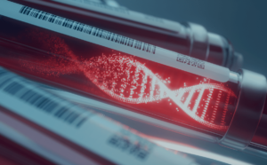 amostra de sangue com holograma do dna, evidenciando o mapeamento genético